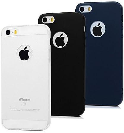 3x Cover iPhone 5S Silicone, MAXFE.CO Cover iPhone SE / 5 Morbido TPU Flessibile Gomma Opaco Custodia Antiscivolo Satinato Cassa Protettiva iPhone 5 / ...