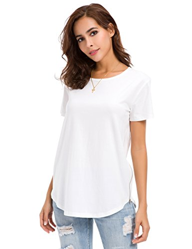 MOQUEEN Womens Loose Fit T Shirts Sides Zipper Cotton Casual Crew Neck Tunic Tops