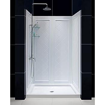 "DreamLine SlimLine 36"" by 48"" Shower Base and QWALL-5 Shower Backwall Kit, DL-6193C-01"