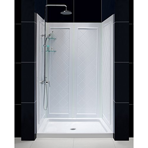 DreamLine 32 in. D x 48 in. W x 76 3/4 in. H Center Drain Acrylic Shower Base and QWALL-5 Backwall Kit In White, DL-6070C-01