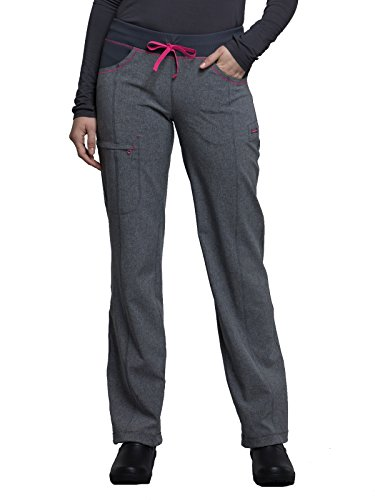 Regular Xxl Heather - Cherokee Infinity CK030A Low Rise Straight Leg Drawstring Pant Heather Grey X-Large