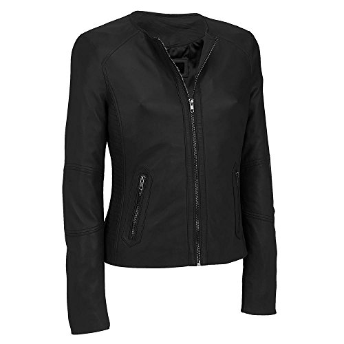 Black Rivet Adult Center Zip Round Neck Lamb Jacket W/Side Stitching 2XL Black