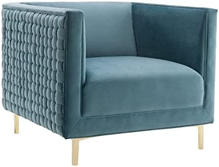 TOV Furniture The Sal Collection Modern Style Woven Velvet Upholstered Living Room Accent Chair