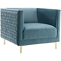 TOV Furniture The Sal Collection Modern Style Woven Velvet Upholstered Living Room Accent Chair, Sea Blue