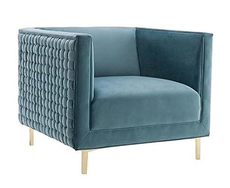 Amazon.com: TOV Muebles Silla De Sal Gris tela, Tela, Azul ...