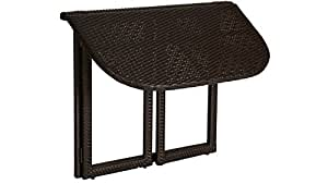 baumarkt direkt–Mesa de jardín ratán, plegable, polirratán, 90x 50cm 50cm, 90cm, color marrón