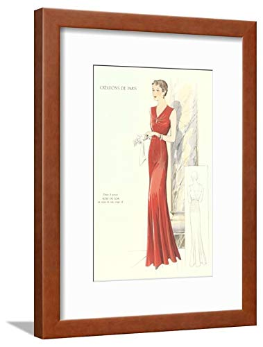 Evening Gown Framed - ArtEdge Haute Couture Evening Gown Brown Framed and Matted Wall Art Print, 16x12