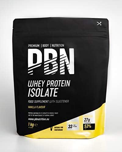 PBN Premium Body Nutrition - Aislado de proteína de suero de leche en polvo (Whey-ISOLATE), 1 kg (Paquete de 1), sabor Vainilla, 33 porciones