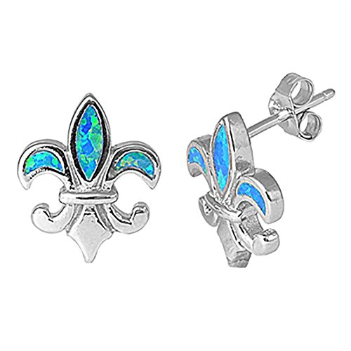 Fleur De Lis Stud Post Earrings Created Blue Opal 925 Sterling Silver Fleur De Lis Earrings