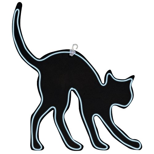 One Holiday Way LED Neon Lighted Black Cat Silhouette Halloween Sign - Hanging Halloween Decoration ()