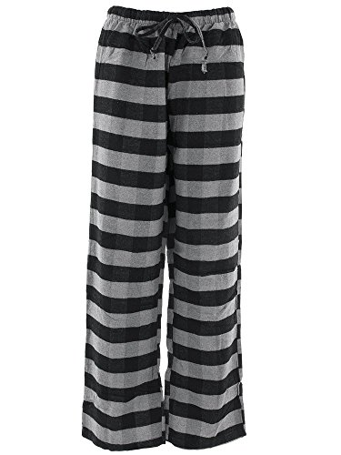 Pajama Striped Pants Flannel (Inteco Intimates Women's Gray Black Striped Flannel Pajama Pants S)