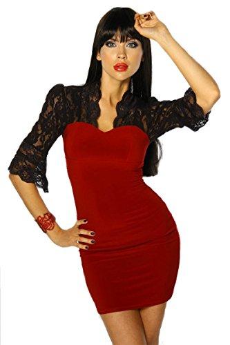 Mujer 4 Rojo Corte Luna Para Somnia Vestido S Imperio Manga Negro Y 3 8xgAW1