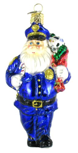 Police Officer Santa Ornament (5 in.)