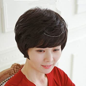 Amazon 2018 Real Hair Wig Middle Aged Lady Short Hair Curly