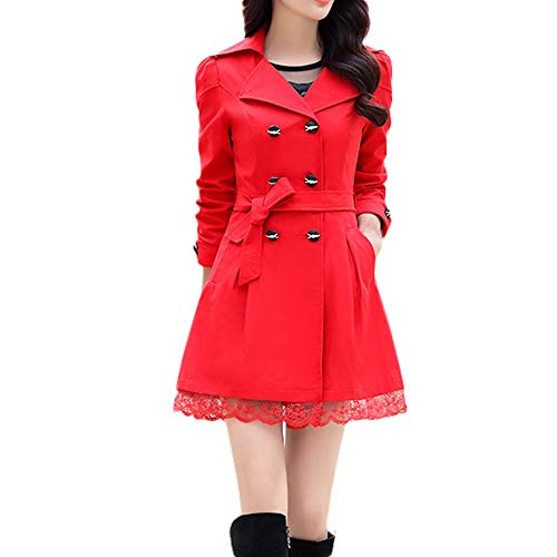 Women Fashion Loose Winter Warm Long Sleeve Button Lace Swing Trench Coat Jacket with Belt Sunmoot (Lace Belted Belt)
