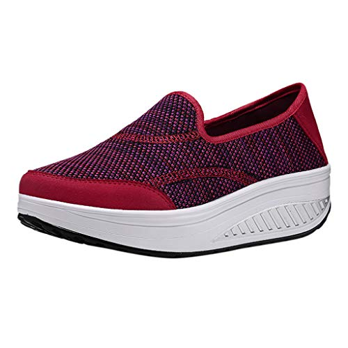 - Shusuen Women's Athletic Walking Shoes Casual Mesh-Comfortable Work Sneakers Red