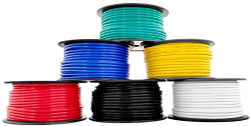 GS Power 12 Gauge, 6 Rolls of 100 Feet (600 ft Total) Primary Wire. CCA Cable for Car Audio Stereo Amplifier Remote Automotive Trailer Signal Wiring. Color: Black Red Blue Yellow White Green 6 Wire Standard Remote