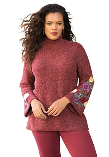 Womens-Plus-Size-Floral-Embroidered-Sweater