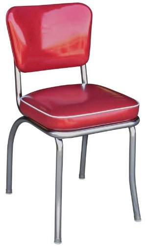 Richardson Seating Glitter Sparkle Retro Chrome Kitchen Chair with 2 Box Seat, Red
