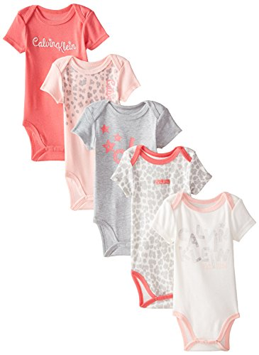 Calvin Klein Baby Girls' Assorted Short Sleeve Bodysuit, Coral/Pink/Leopard, 0-3 Months (Pack of 5)
