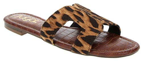 Sugar Women's Outing H Band Sandals with Faux Crocodile Footbed and Studs Leopard 9.5