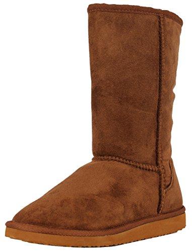 (SODA Women's Soong Comfort Faux Suede Fur Mid- Calf Flat Boot, Dark Camel, 8 M)