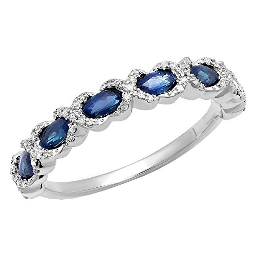 - 14K 4X2 MM Each Marquise Blue Sapphire & Round Diamond Ladies Wedding Band, White Gold, Size 6.5