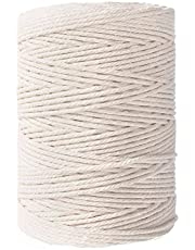 Macrame Cotton Cord,Not Dyed,Natural Color Handmade Soft 4-Strand Cotton Cord Rope for Macrame,Wall Hanging,Plant Hanger,DIY Craft Making,Knitting,Home Decoration