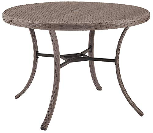Crosley Furniture CO7239-DW Tribeca Outdoor Wicker Round Dining Table, Driftwood Grey (Table Resin Patio 48 Round)