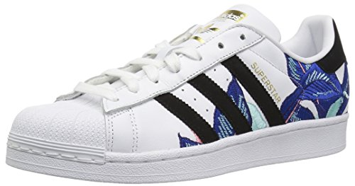 adidas Originals Women's Superstar Running Shoe, White/Black/Gold Metallic, 9 M US