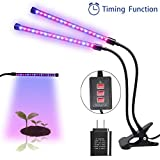 MOONBROOK Grow Light Plant Light Dual Head LED Lights 3 Modes Timer (3H/6H/12H) Dimmable 5 Levels Adjustable with 360 Degree Flexible Gooseneck LED Plant Growing Lamp for Indoor Plants