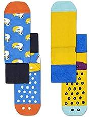 Happy Socks Unisex Baby Swan Anti-Slip Socks, Pack of 2, Multicolour, 6-12M