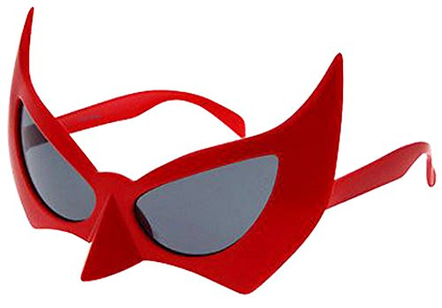 Batman Bat Man Sunglasses Costume Glasses (Red, Black)