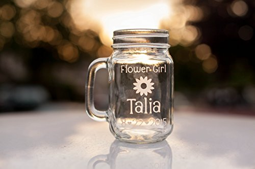 Flower Girl Glass, Personalized Mason Jar with Name, Date and Flower Design, Hand Engraved Mason Jar Mug, Country - With Names Handles Glasses Of