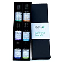 Kama Naturals Wellness Blends - Set of 6 Pure Essential Oil Blends Therapeutic Grade - Breathe Easy, Digest Easy, Immunity Boost, Mind at Ease, Sleep Easy, Stress Less (6 x 10ml)