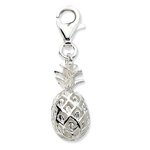 925 Sterling Silver Rh Click On Pineapple Pendant Charm Necklace Food Drink Travel Transportation Fine Jewelry Gifts For Women For Her
