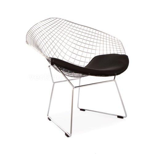 *Set of 2* High Quality Harry Bertoia Style Diamond Lounge Chair - Black Seat (Bertoia Diamond Seat Pad)