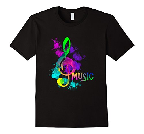 Mens Funky Colorful Music Treble Clef Musical Note T-Shirt 2XL Black Treble Clef Paint