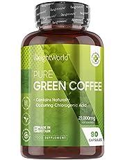 Gröna kaffekapslar med hög hållfasthet – 21 000 mg – 90 pulverkapslar – naturlig koffein energi och kostpiller, bra för kost och träningspass, rent keto och veganvänligt tillskott, öka hälsan