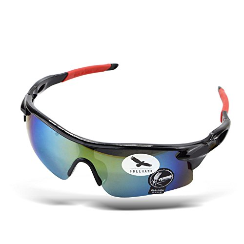 Athlete's Sunglasses, Sport Sunglasses Cycling Outdoor Sports Safety Glasses for Baseball Cycling Fishing Golf Driving Superlight Frame Glasses (Colorful Lens Black - Sunglasses Golfers