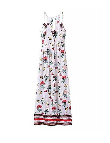 PU&PU Robe Aux femmes Trapèze Bohème,Fleur Col en V Maxi Coton / Polyester , white-m , white-m