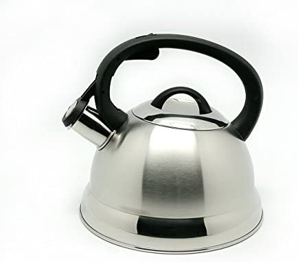 Creative Home Tribute Stainless Steel Whistling Tea Kettle Stove Top Tea Pot With Brushed Finish Silver Kitchen Dining