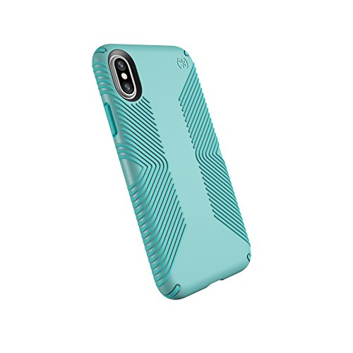 Speck Products 103131-6599 Presidio Grip Case for iPhone X, Surf Teal/Mykonos Blue