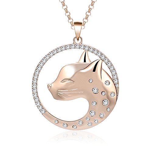 Pendant Head Cat - HAQUIL Cat Necklace Crystal Cat Head Pendant Necklace for Women (Rose Gold)