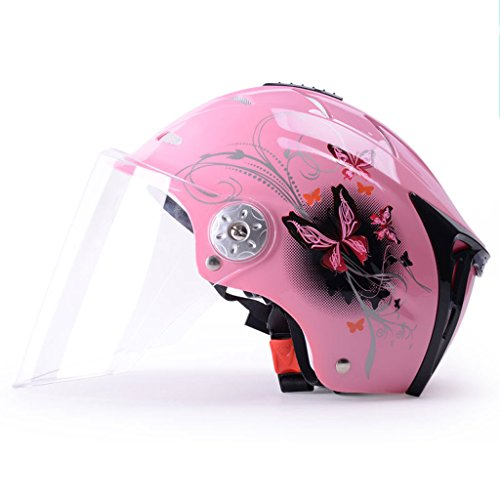 Helmet Summer Motorcycle Female UV Protection Lightweight Bicycle Safety Helmet Pink (Color : Clear) by Moolo
