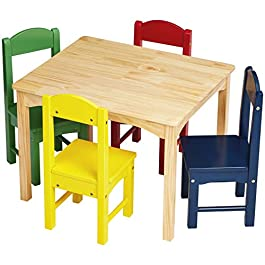 AmazonBasics Kids Wood Table and 4 Chair Set, Natu...
