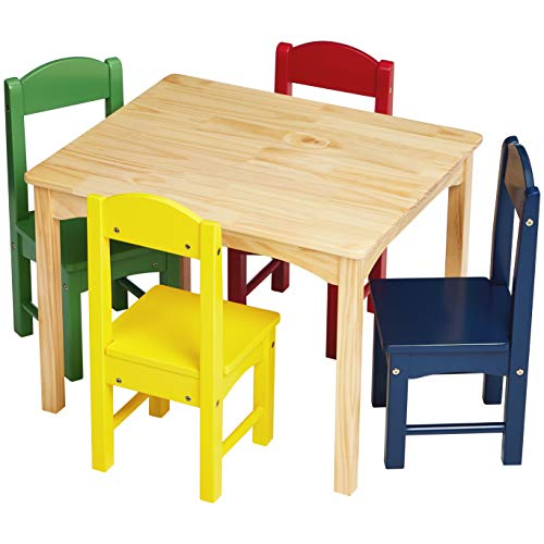 - AmazonBasics Kids Wood Table and 4 Chair Set, Natural Table, Assorted Color Chairs