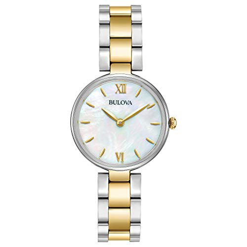 Bulova Womens 98L226XG Quartz Classic Mother-of-Pearl Dial Two-Tone 27mm Watch (Renewed) ()