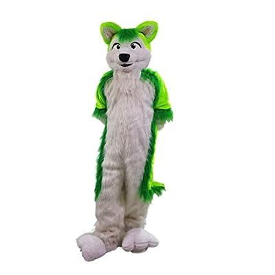 Green Wolf Husky dog Mascot Cartoon Costume Character