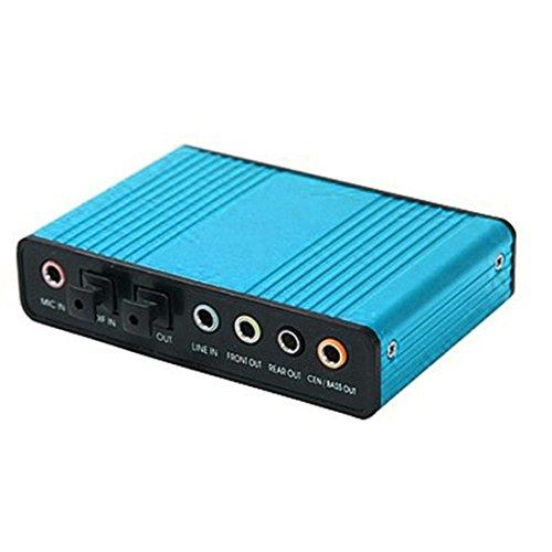 (USB External 6 Channel 5.1 SPDIF Optical Sound Card Audio For Netbook Laptop PC, blue)